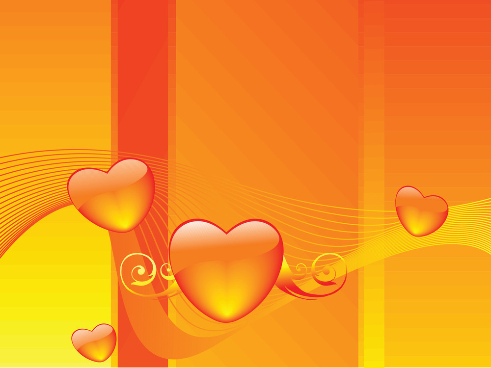 Orange Background With Glossy Heart