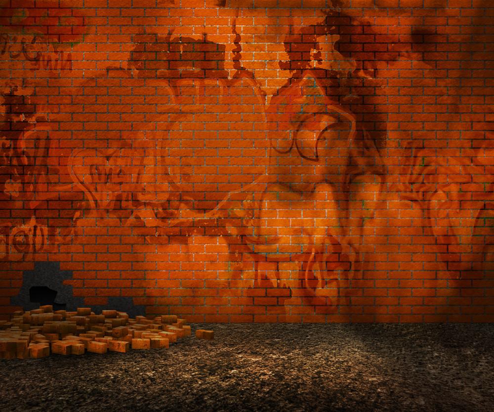 Orange Brick Backyard Street Background