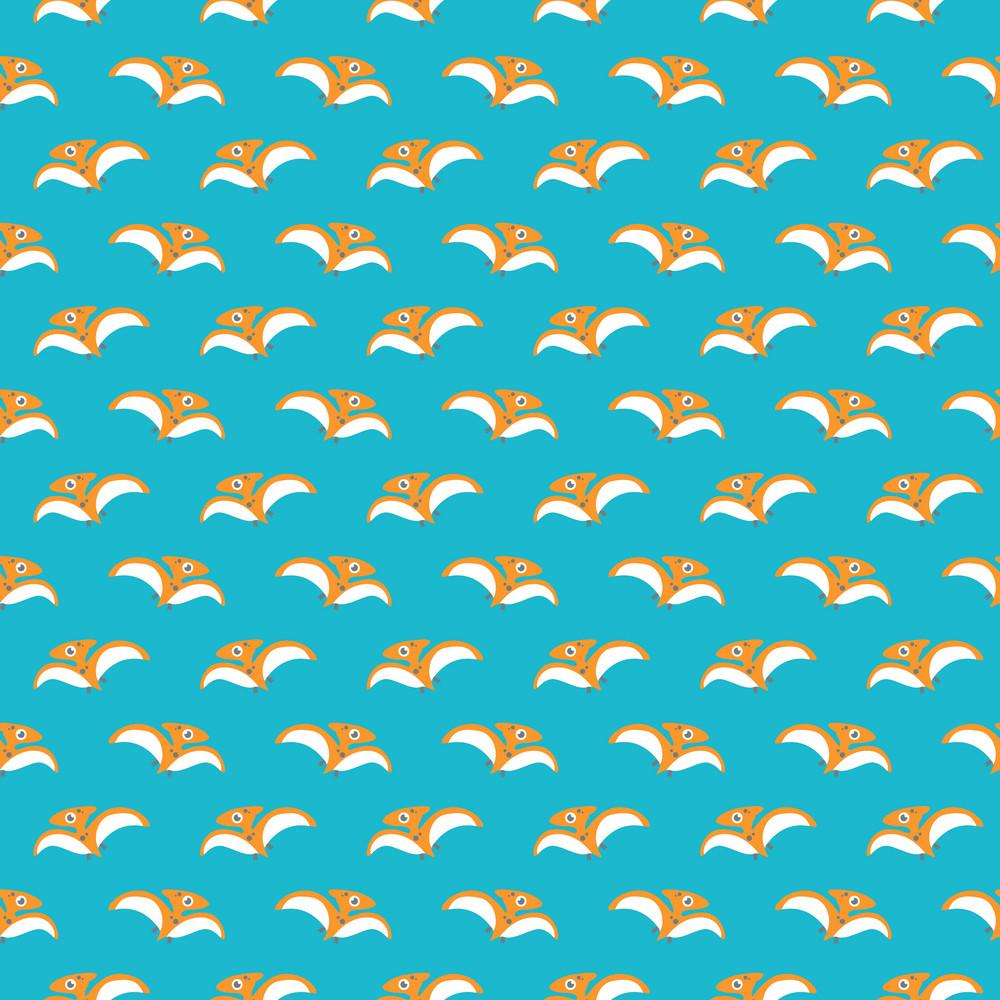 Orange Dinosaur Pattern On An Aqua Background