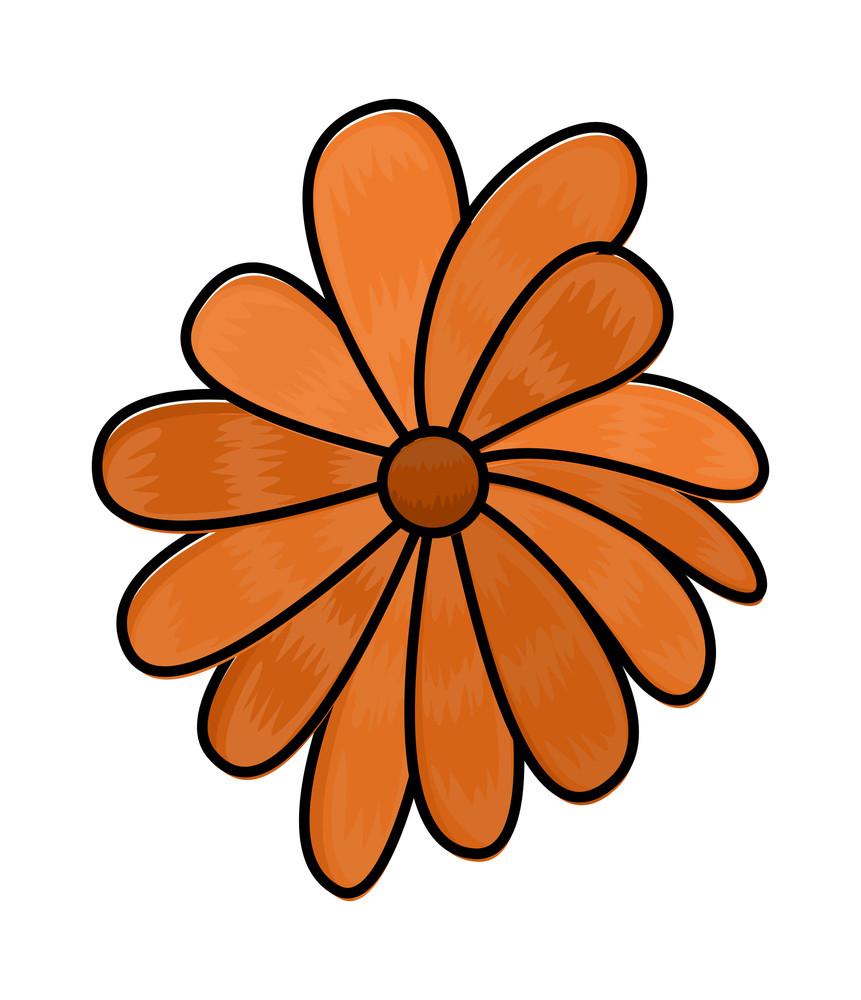 Orange Flower Clipart Vector Royalty Free Stock Image