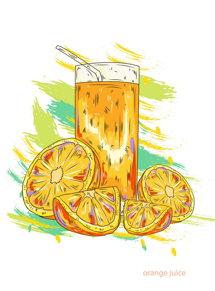 Orange Juice Vector  Illustration