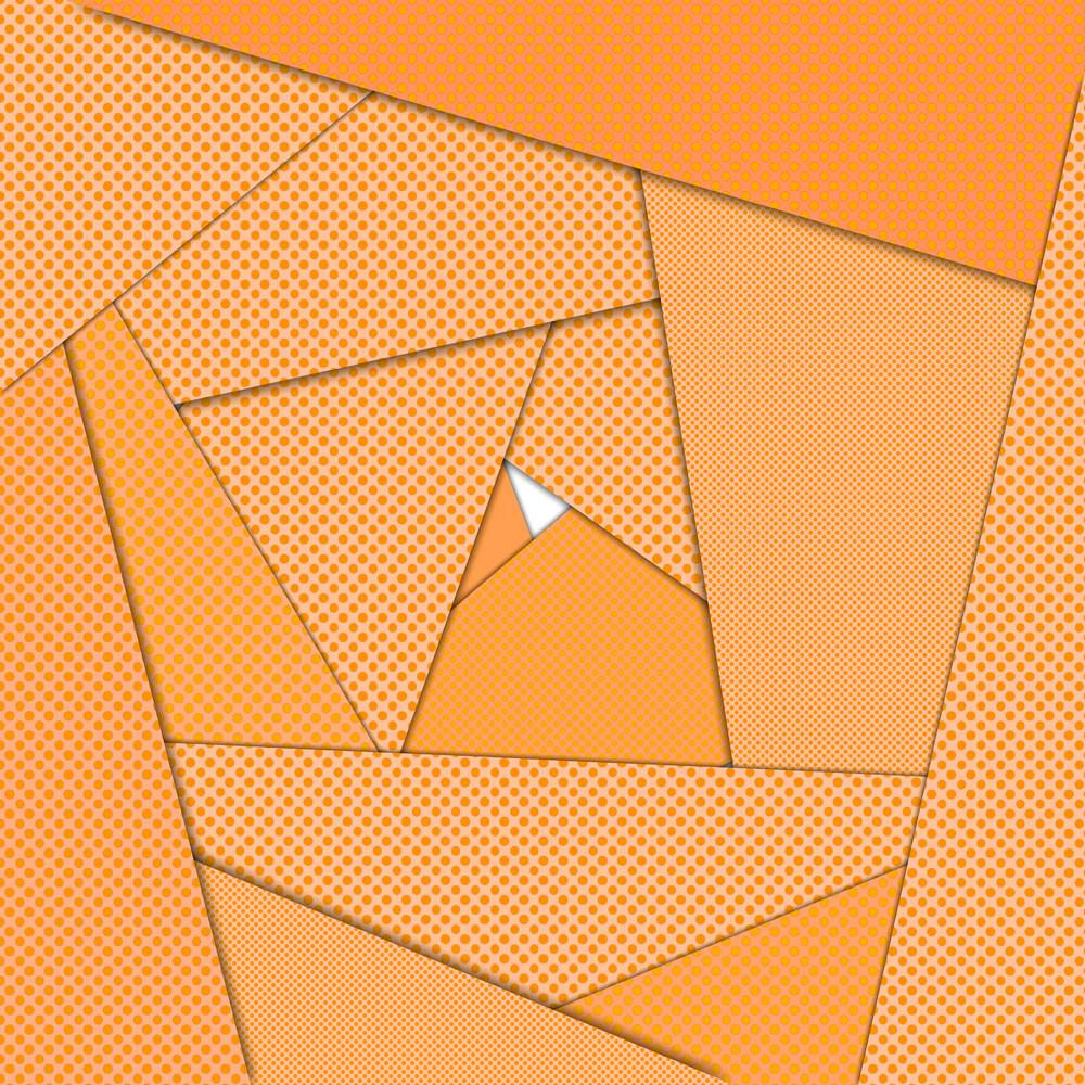 Orange origami maze abstract background