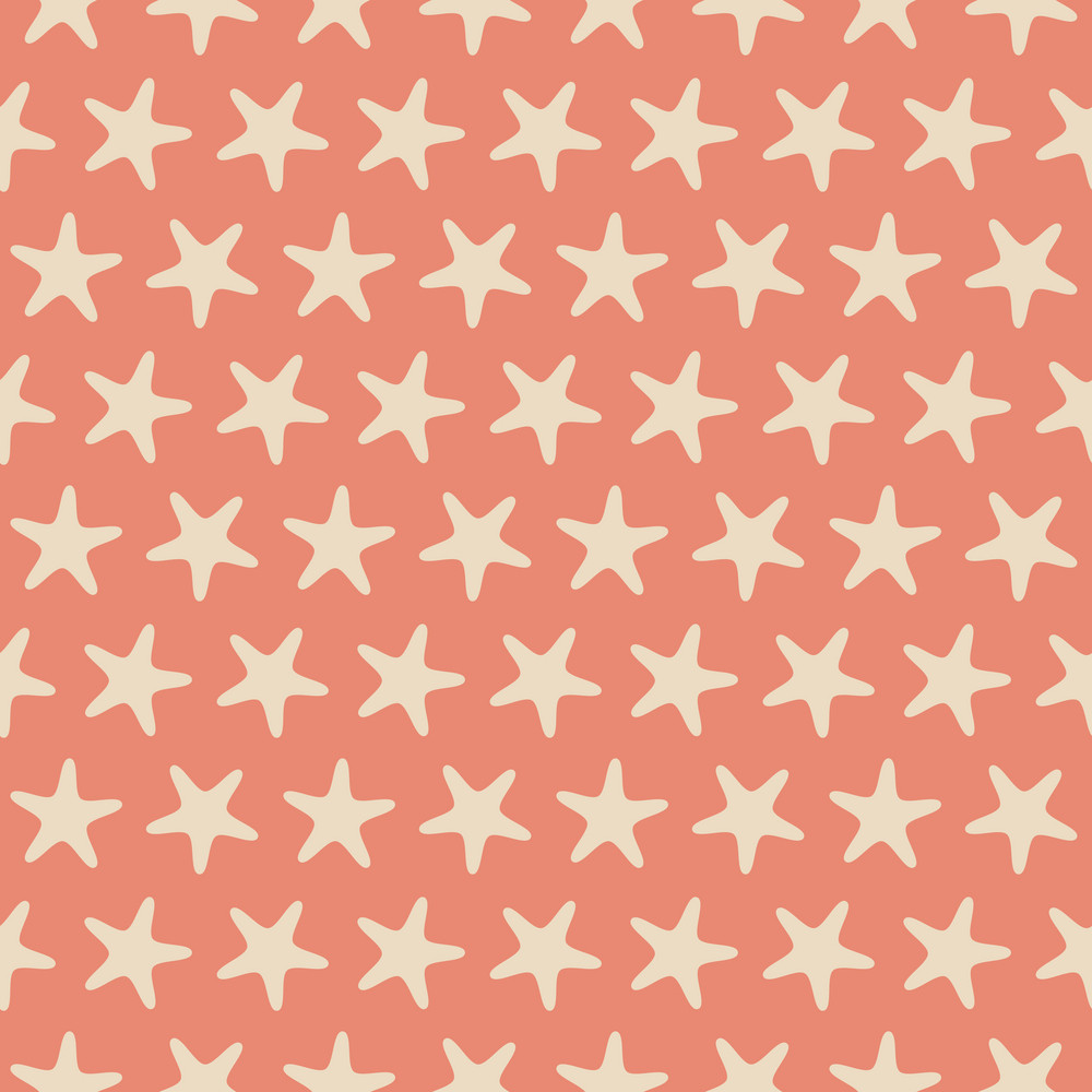 Orange Retro Beach Starfish Pattern