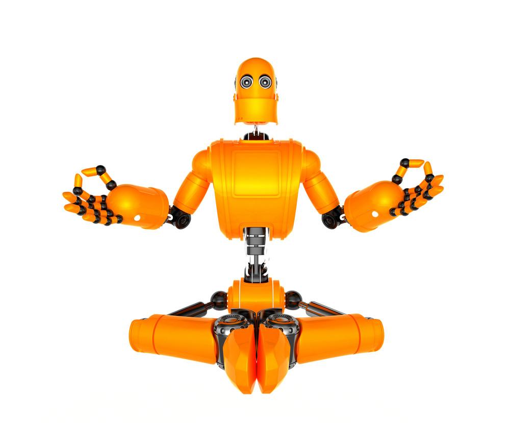Orange Robot In Meditation Pose