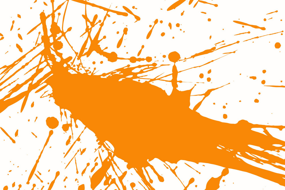 Orange Splashing Ink