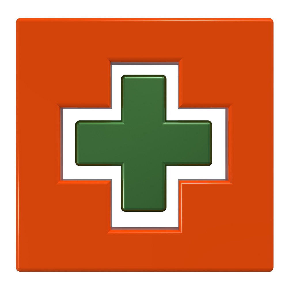 Orange Square With Green Cross Isolated On White.