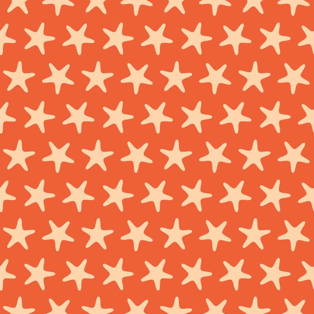 Orange Starfish Beach Pattern