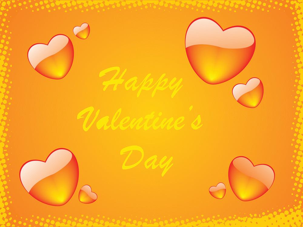 Orange Vector Frame Of Hearts Theme