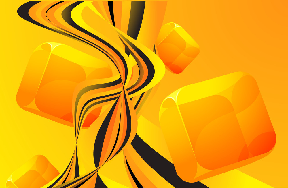 Orange Wave Flow Abstract Vector Background With Transparent Cubes.