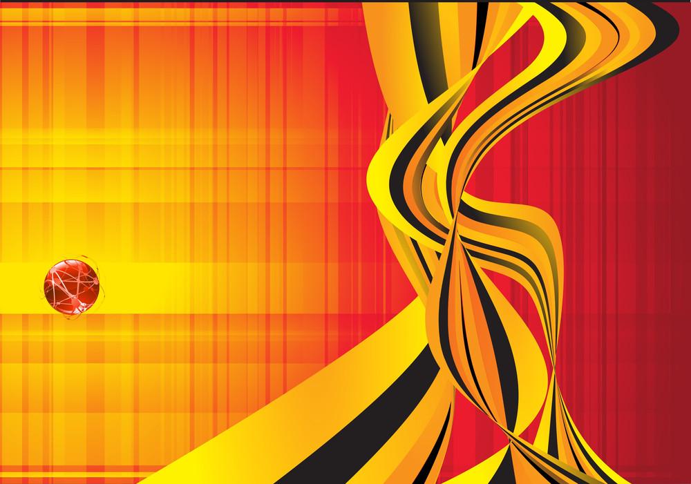 Orange Wave Flow Abstract Vector Background.