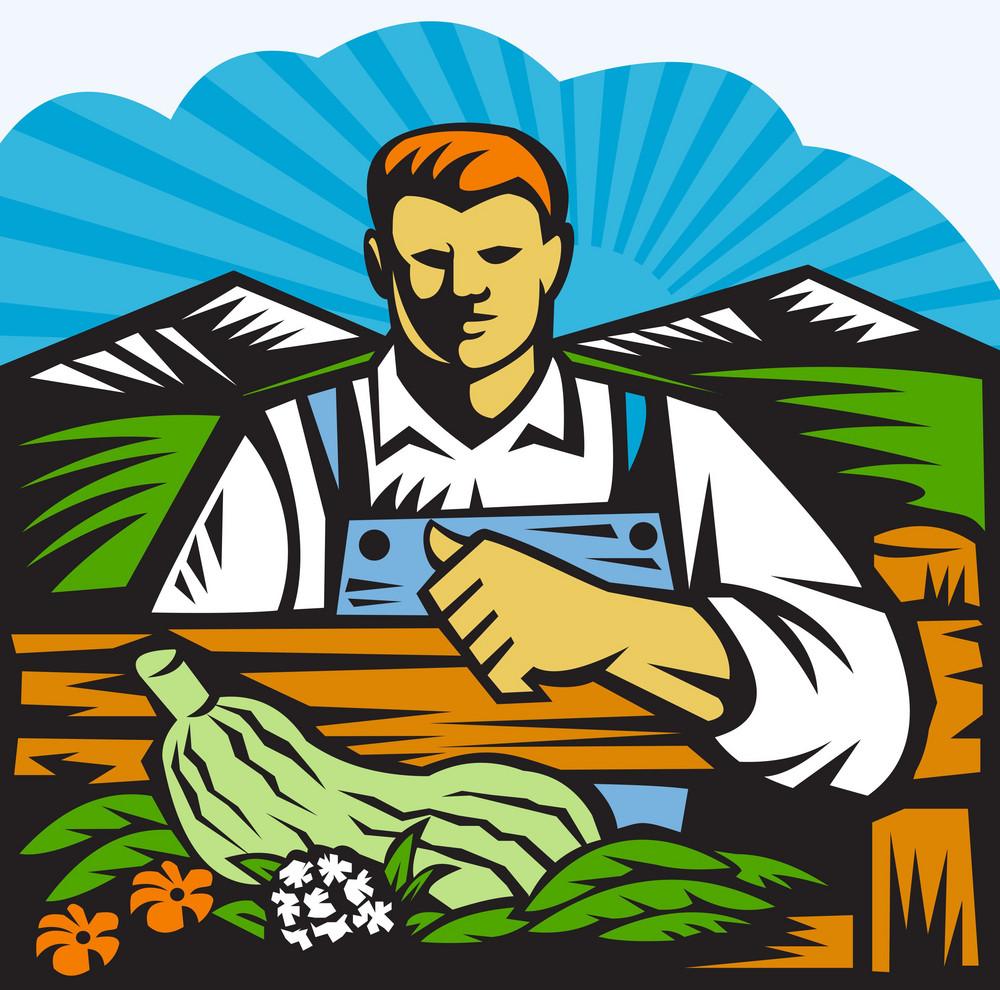 Organic Farmer Farm Produce Harvest Retro