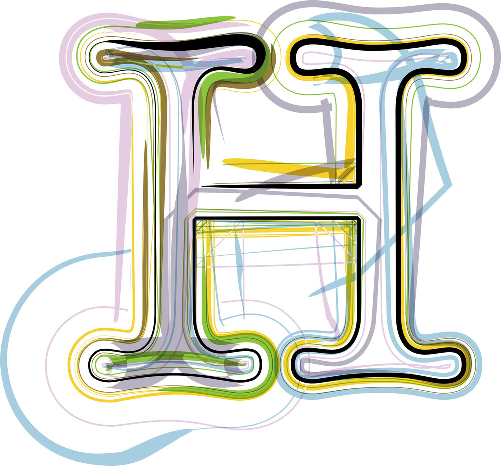 Organic Font Illustration. Letter H