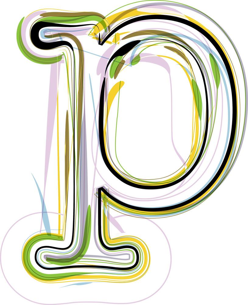 Organic Font Illustration. Letter P