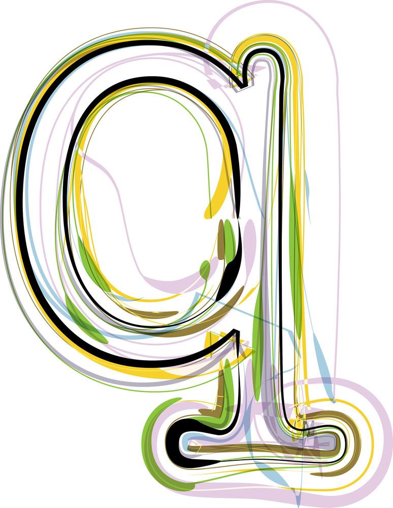 Organic Font Illustration. Letter Q