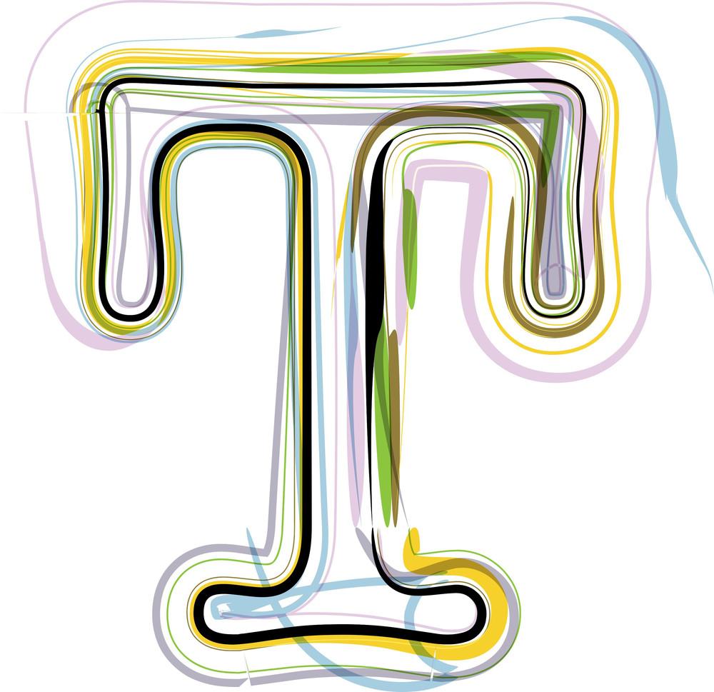 Organic Font Illustration. Letter T