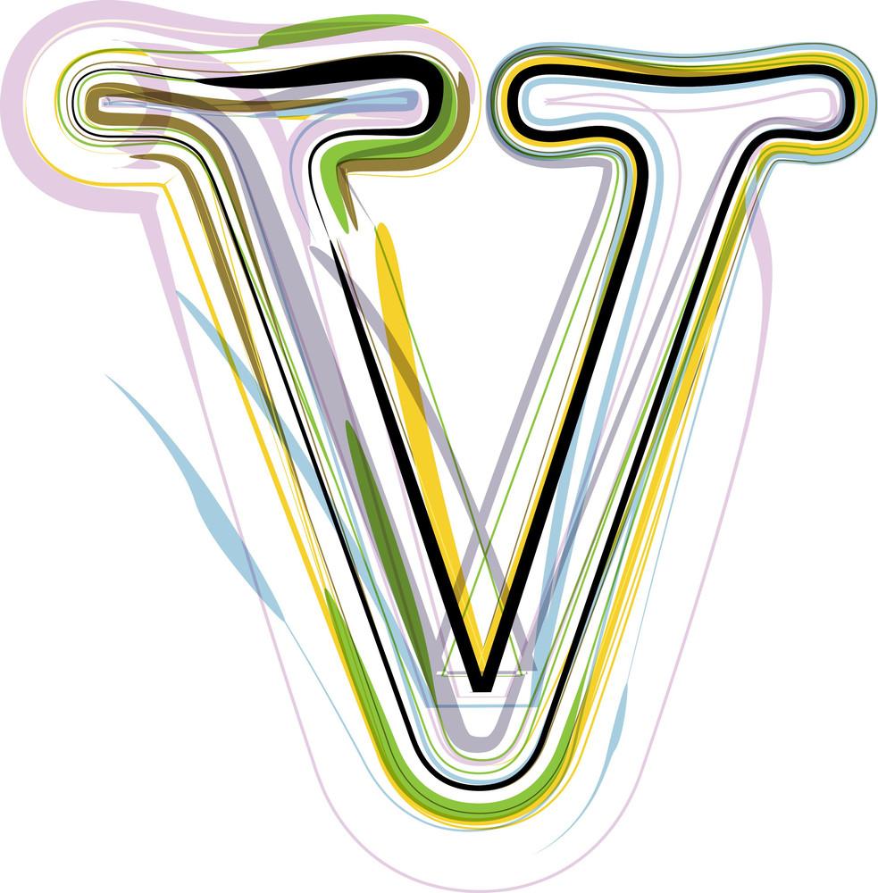 Organic Font Illustration. Letter V