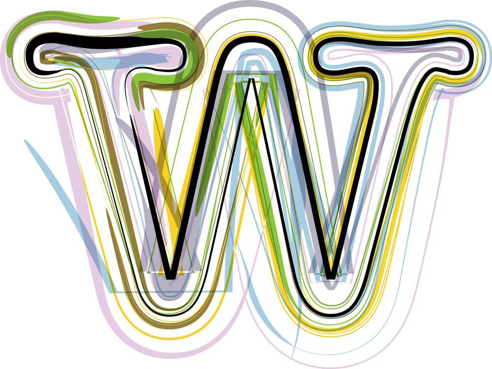 Organic Font Illustration. Letter W