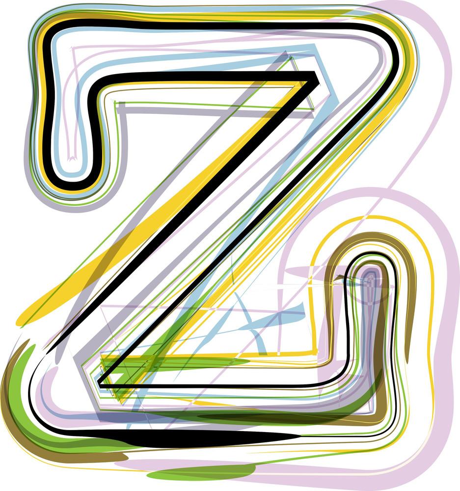 Organic Font Illustration. Letter Z