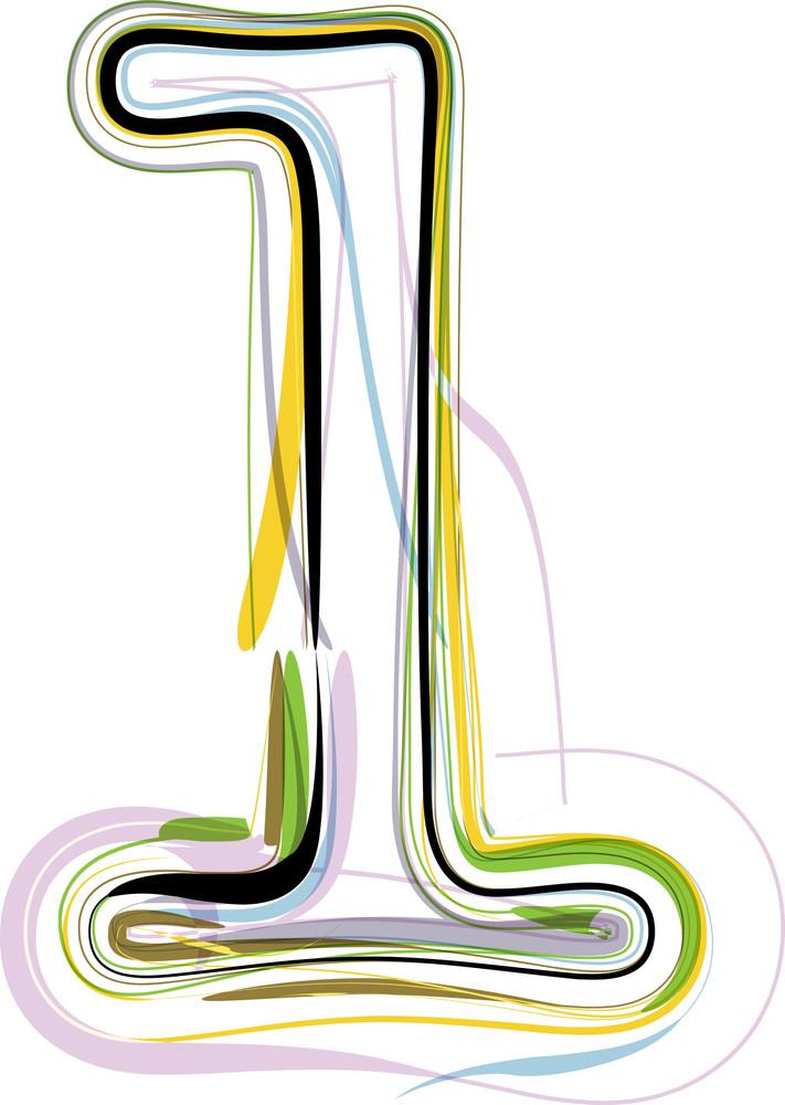 Organic Font Illustration. Number 1