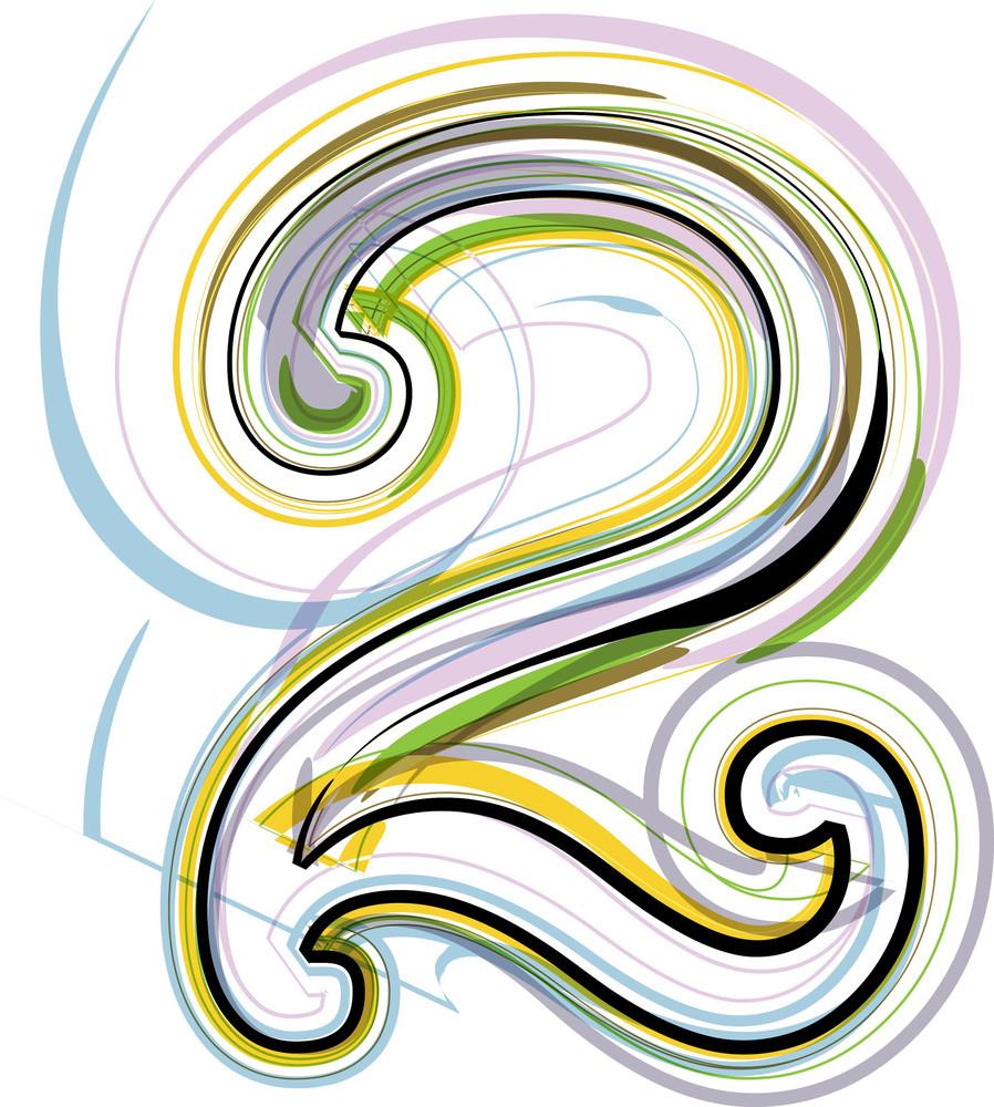 Organic Font Illustration. Number 2