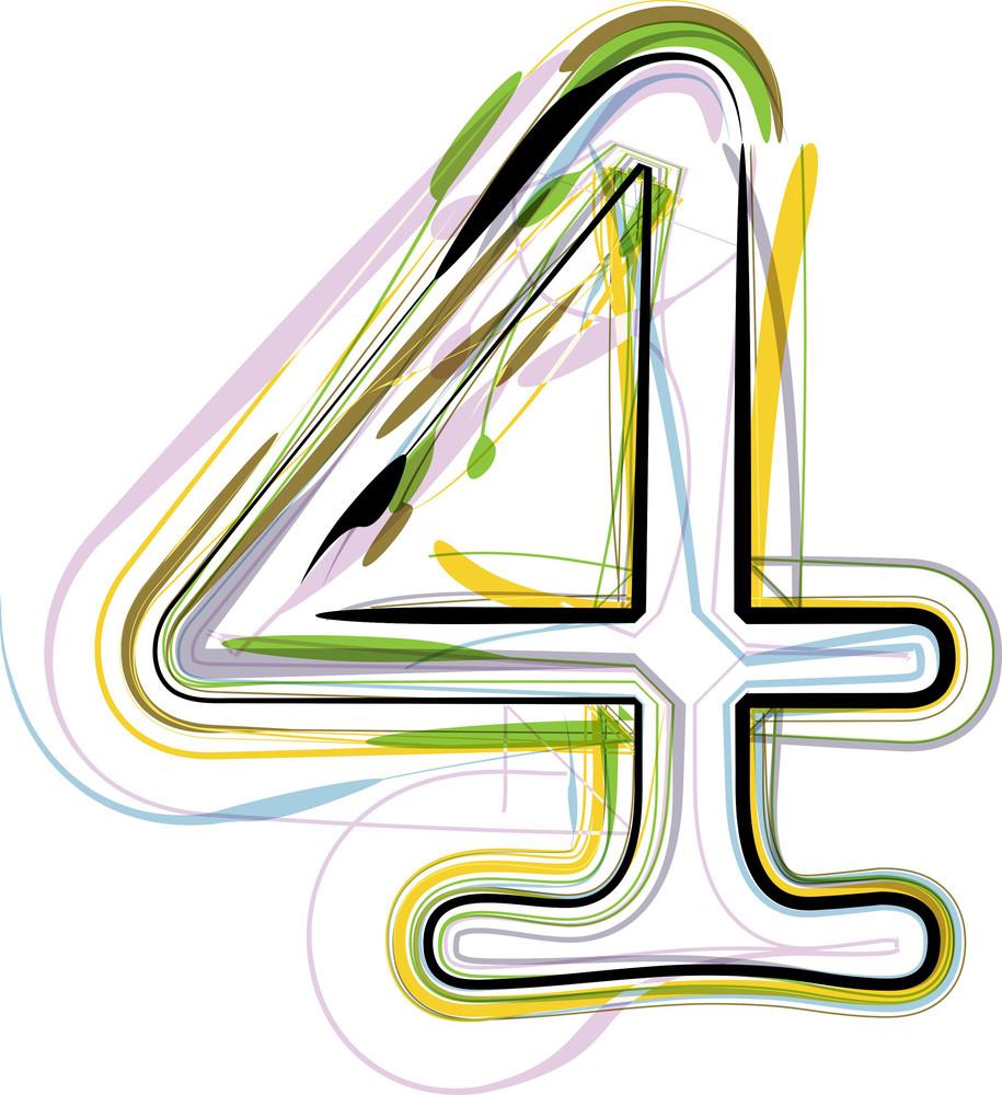 Organic Font Illustration. Number 4