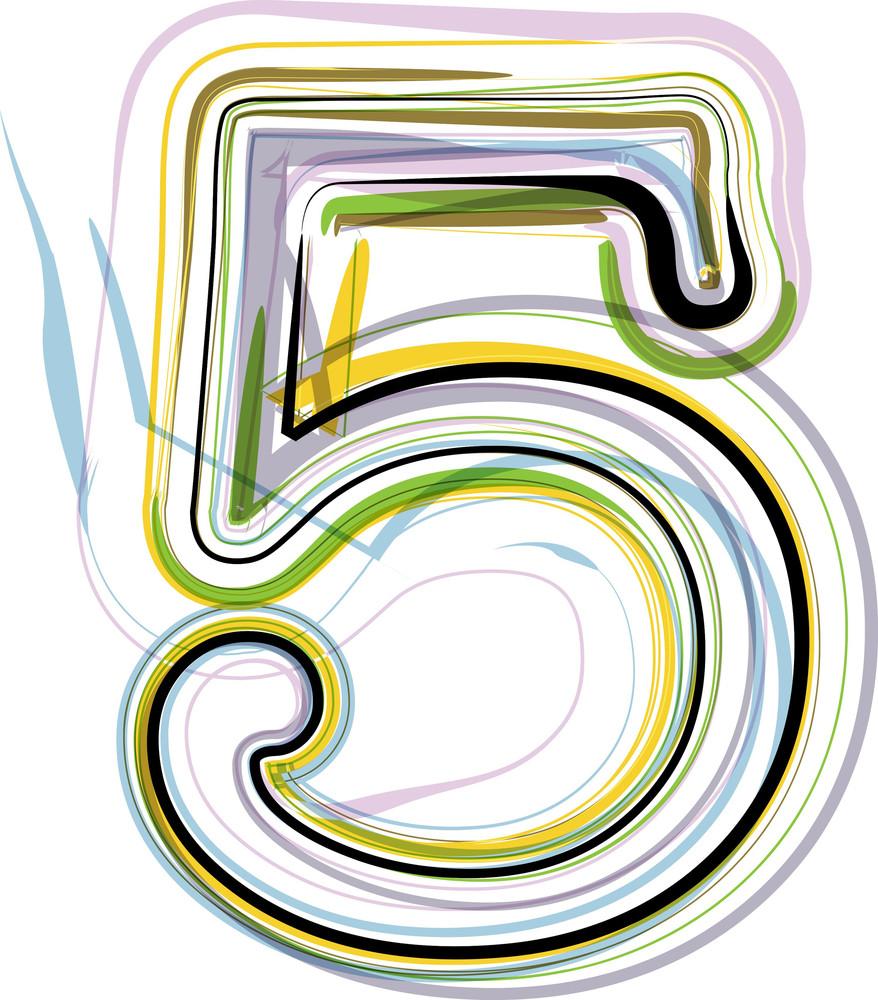 Organic Font Illustration. Number 5