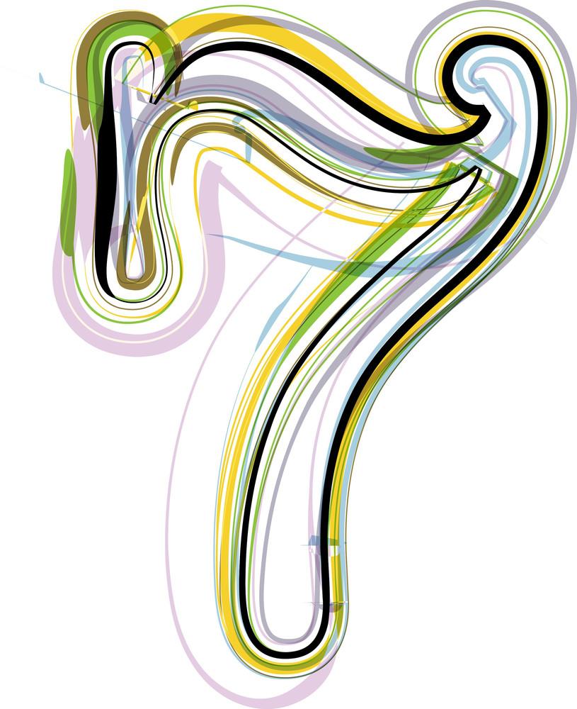 Organic Font Illustration. Number 7