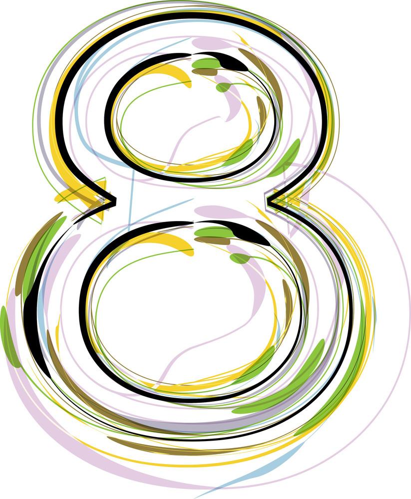 Organic Font Illustration. Number 8