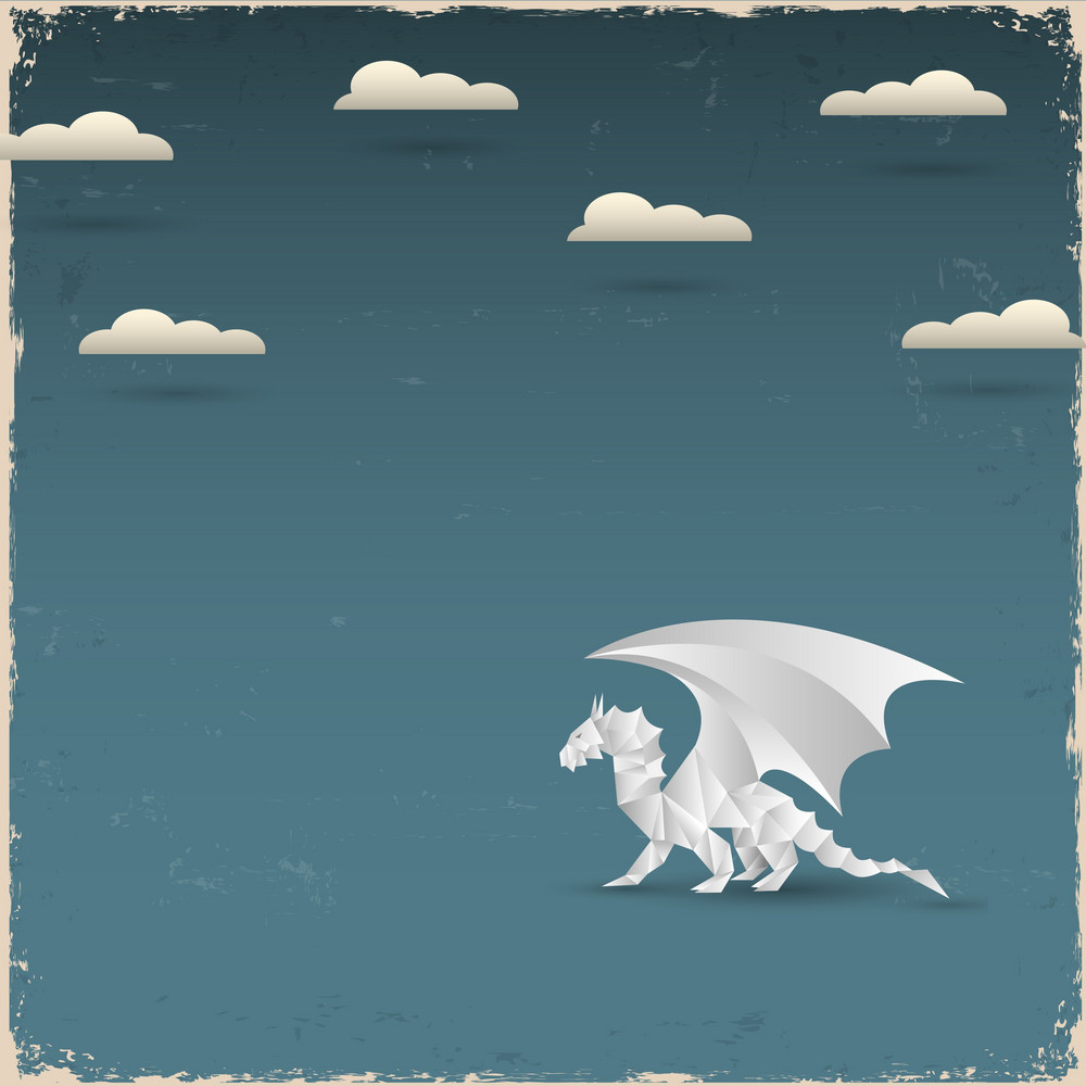 Origami Dragon On Grunge Background