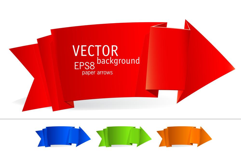 Origami Paper Arrows. Vector.