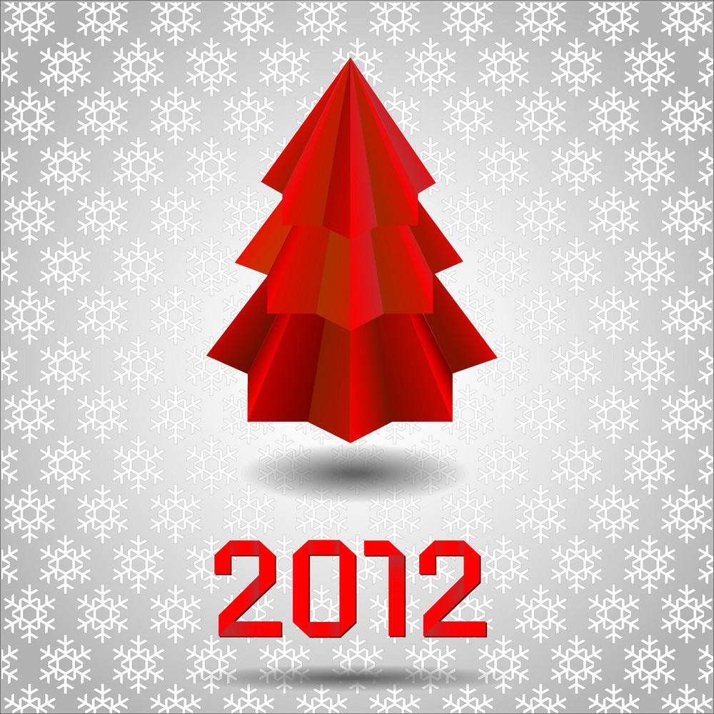 Origami  Red Christmas Tree