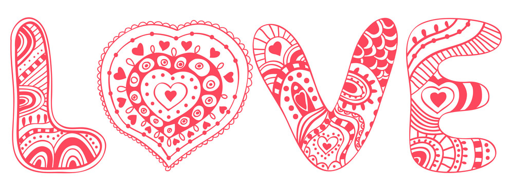 "Original Hand Drawn Word ""love"". Romantic Floral Background With Love"