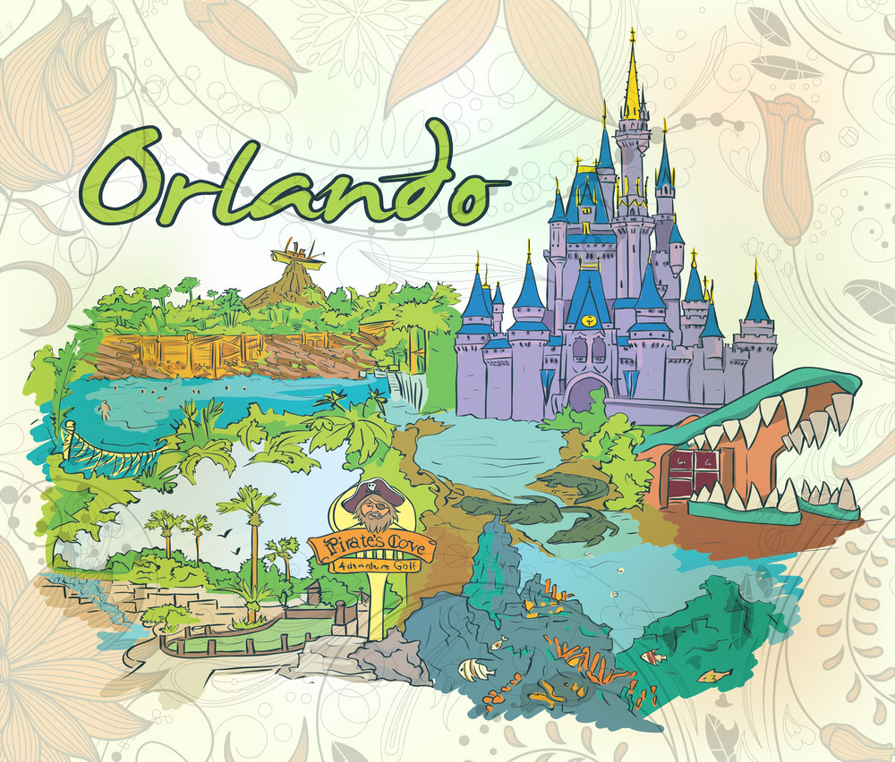 Orlando Doodles With Floral Vector Illustration