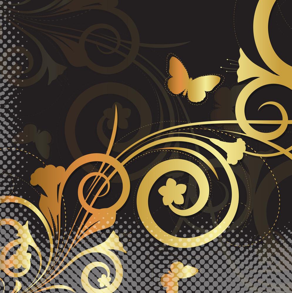 Ornamental Floral Halftone Background