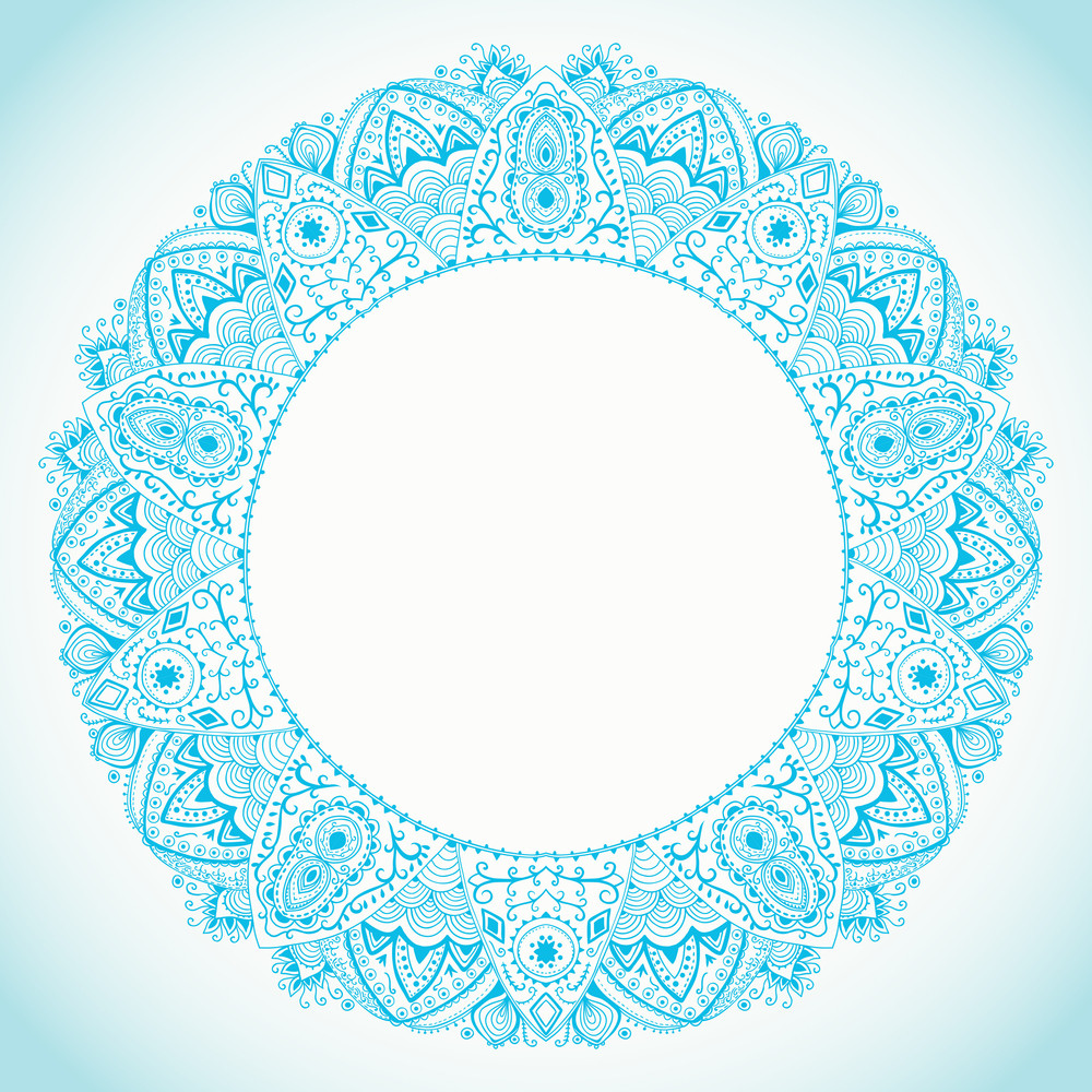 Ornamental Round Lace Frame. Background For Celebrations