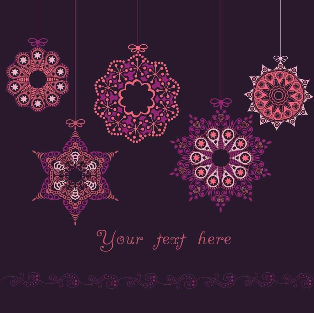 Ornate Christmas Balls In Hearts Snowfall