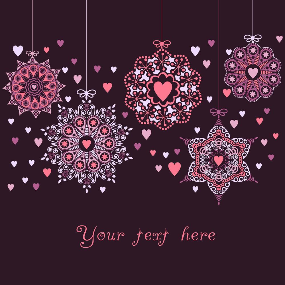 Ornate Christmas Balls Made Of Hearts. Romantic Christmas Ball Illustration.