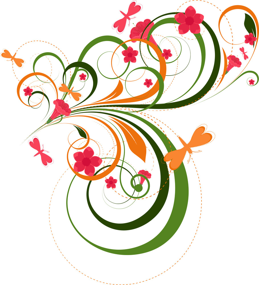 Ornate Colored Floral Designs