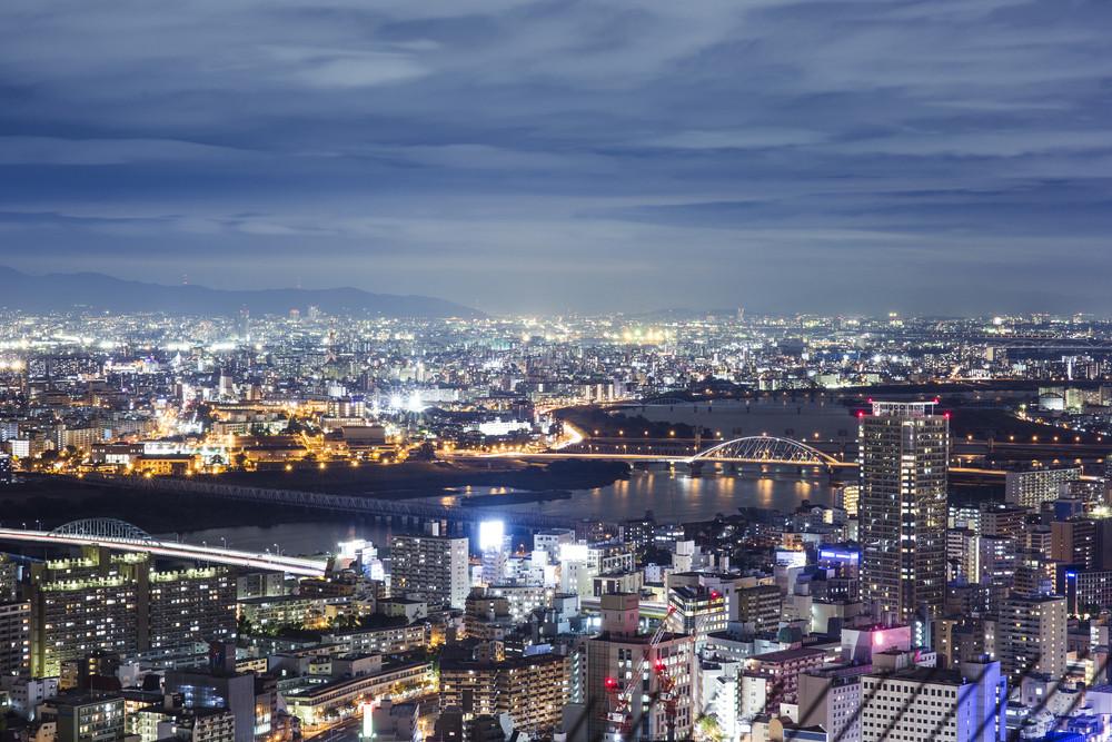 Osaka city twilight top view from Umeda sky
