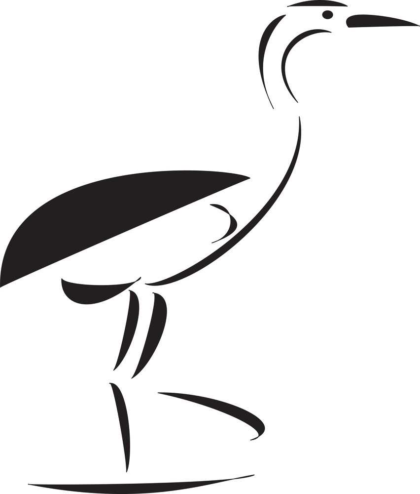Ostrich In Black And White Element.