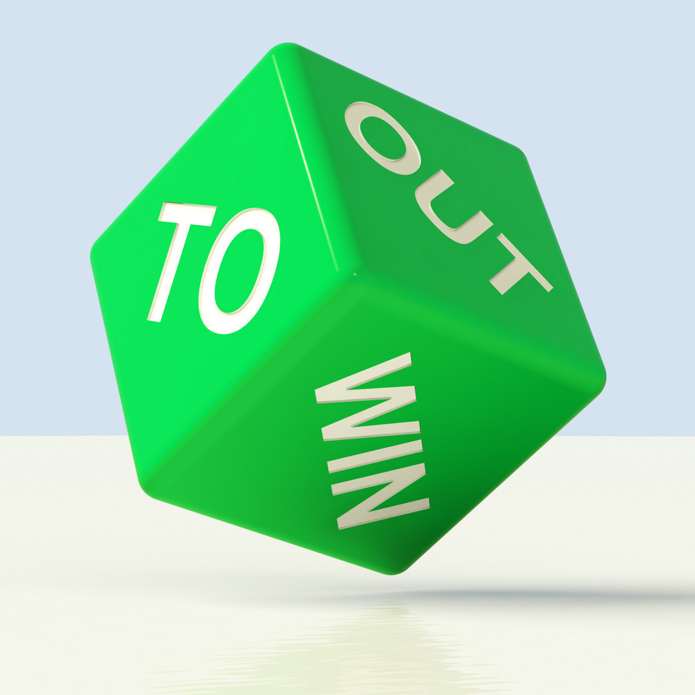 Out To Win Dice Representing Desire To Achieve
