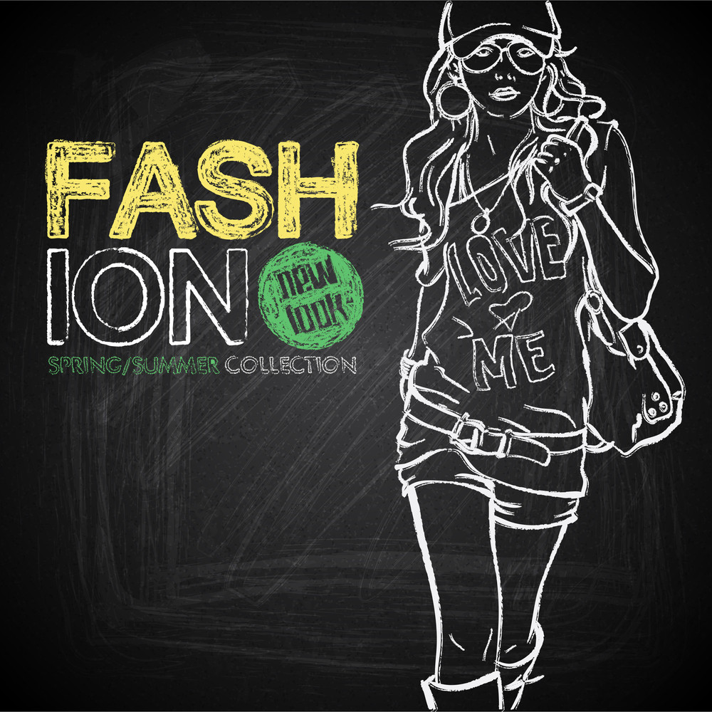 Outline Drawing Of The Pretty Girl On A Board Chalk. Vector Collection.