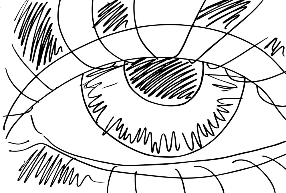 Outlined Sketch Of Abstract Eyes Vector Illustration Royalty Free