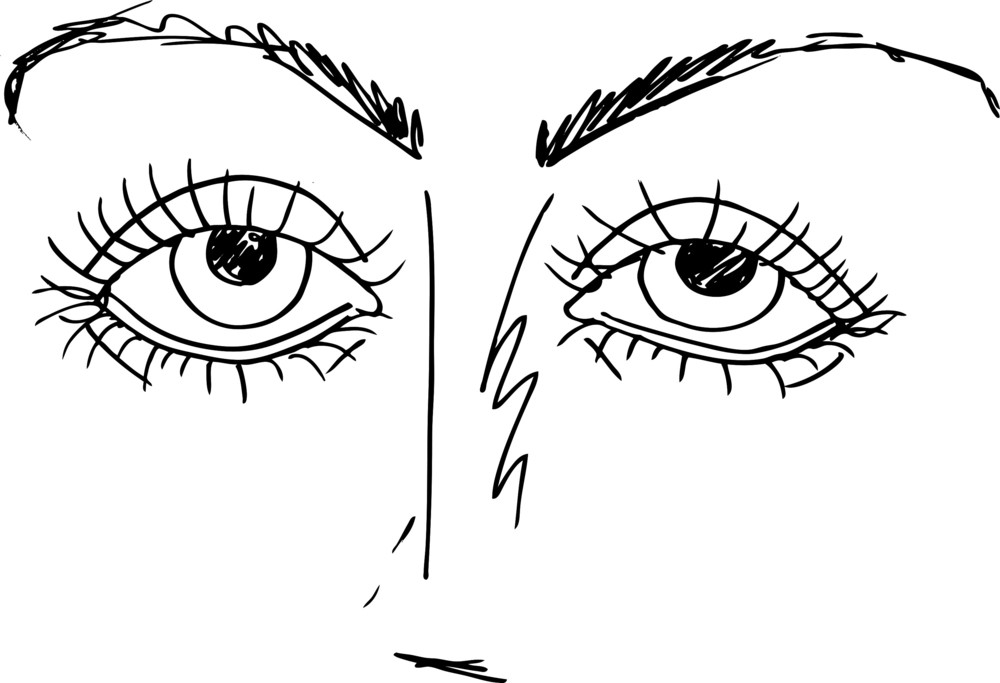 Outlined Sketch Of Cartoon Eyes. Vector Illustration