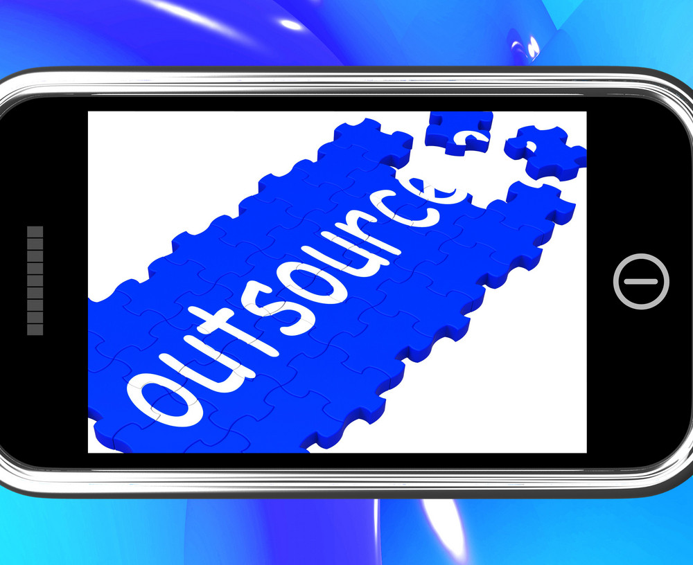 Outsource On Smartphone Showing Freelance Workers