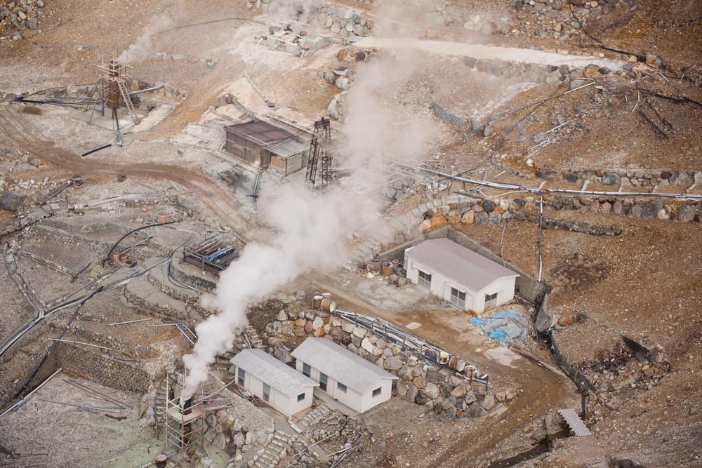 owakudani, sulfur quarry in Hakone, Japan