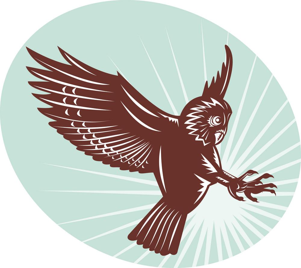 Owl Swooping Woodcut Style