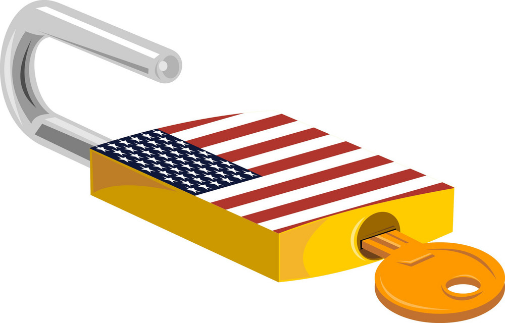 Padlock And Key American Flag Design