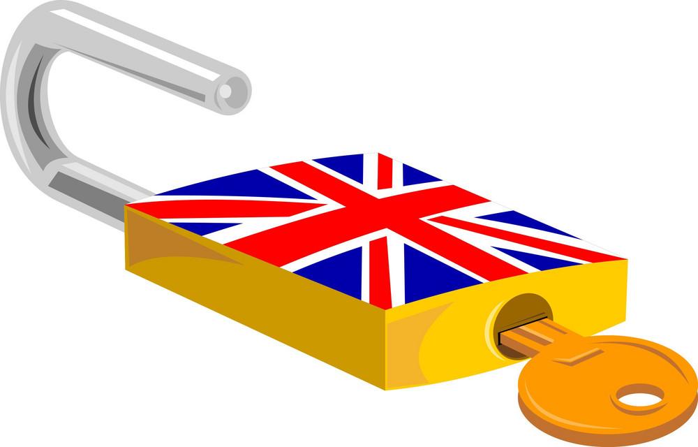 Padlock And Key British Flag Design