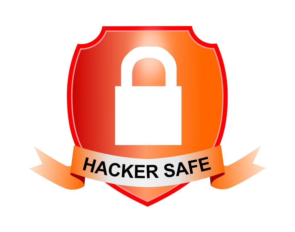 Padlock Hacker Safe Shield And Ribbon